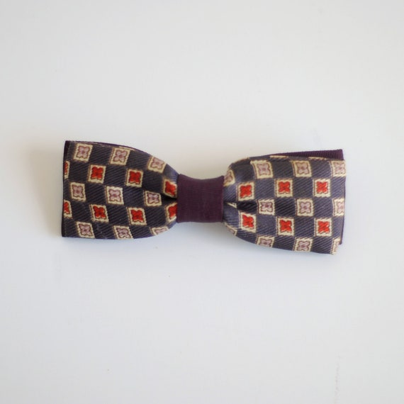 Vintage 1950's Boy Bow Tie - Purple Square Flowers
