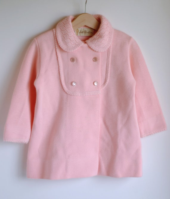 Vintage 1960's Toddler Girl Coat and Dress Set - Pink Knit (size 3 to 4T)