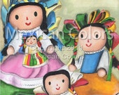 Mexican rag dolls- Original acrylic painting 8 x 8 inches