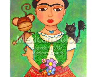 Frida Kahlo with hummingbird necklace - Giclee print from original painting