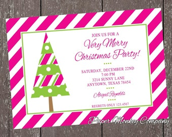 Pink and Green Holiday Christmas Invitation - 1.00 each with envelope
