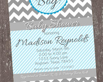 Chevron It's A Boy Baby Shower Invitations - 1.00 each with envelope