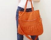 New Year SALE - 40% OFF Kangaroo Max in Orange / Shoulder Bag / Tote / Diapers Bag / Purses / Hobo / Handbags / School  / Women / For Her
