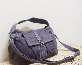 Sling Bag, Crossbody Bag, Top Handle Bag, Hobo Bag, Festival Bag, Gift Ideas For Women - Mini CLASSIC in Waxed Canvas Gray - SALE 30% OFF