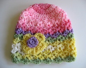 Ready To Ship - Crocheted Multi-Colored Baby Girl Hat - Newborn Girl Hat - Crocheted Newborn Baby Hat