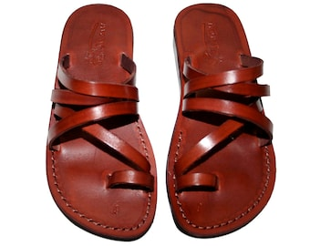 Brown Buckle-free Leather Sandals For Men & Women - Handmade Sandals, Leather Flats, Leather Flip Flops, Brown Unisex Leather Sandals