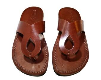 Brown Cross Leather Sandals For Men & Women - Handmade Unisex Sandals, Flip Flop Sandals, Jesus Sandals, Genuine Leather Sandals