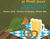 Oktoberfest/Octoberfest Invitation - Celebrate Pretzels, Beer and Lederhosen