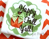 Machine Embroidery Design Applique Happy Fall Yall Scallop INSTANT DOWNLOAD