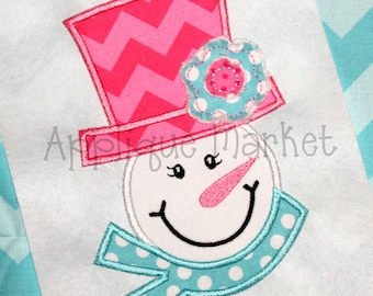 Machine Embroidery Design Applique Snowgirl Raggy Flower INSTANT DOWNLOAD