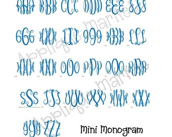 Machine Embroidery Design Alphabet Font Graceful Monogram Mini INSTANT DOWNLOAD