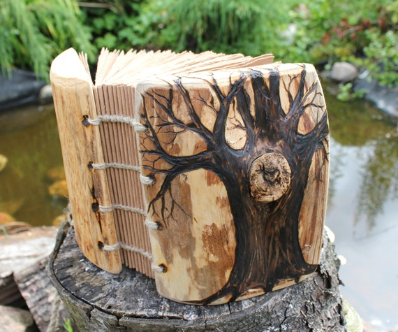 Coptic stich rustic wood journal  7 1/2  x 6  Tree of Life