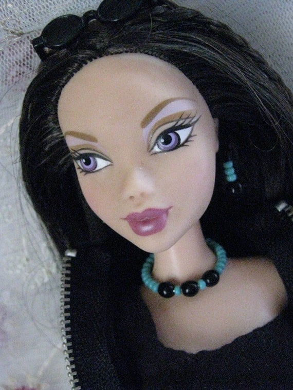 Turquoise & Black Beaded Doll Jewelry Set Barbie Silkstone Fashion Royalty