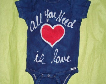 VALENTINES DAY All You Need is Love baby batik onesie The Beatles inspired CUSTOM Made