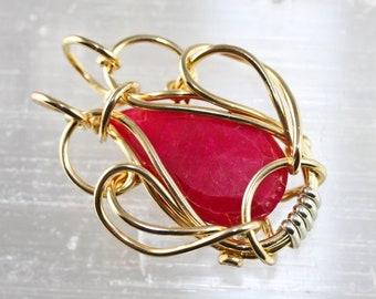 Wire Wrapped Talisman Amulet Pendant- Ruby - Unique Original Design by Philip Crow