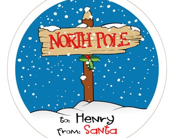 North Pole From Santa Personalized Christmas Stickers, Labels or Tags