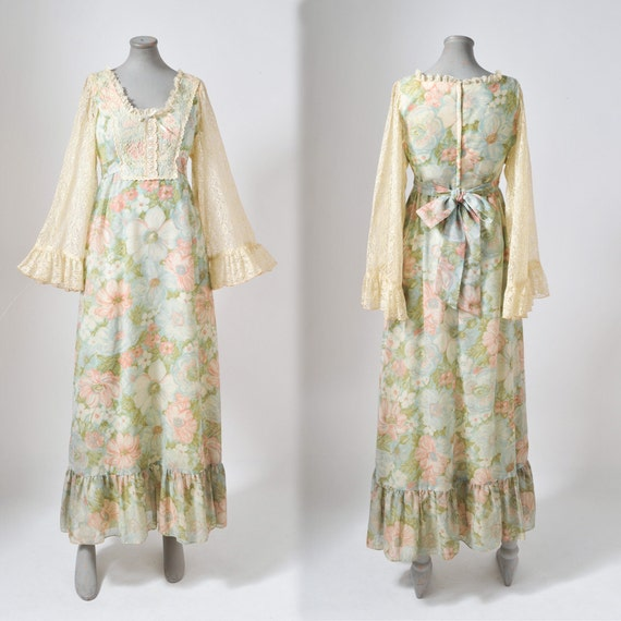 1970's Watercolor Floral Boho Maxi Gown with Lace Flutter Sleeves Romantic Hippie Prairie Dress