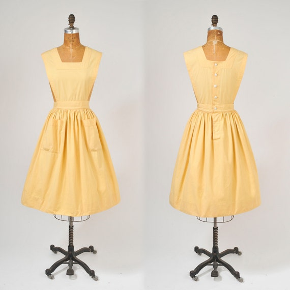 1950's Yellow Apron - Waitress or Workshop Uniform - Back to School