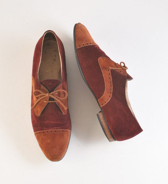 Vintage Suede Bruno Magli Shoes - Lace Up Two Tone Spectators