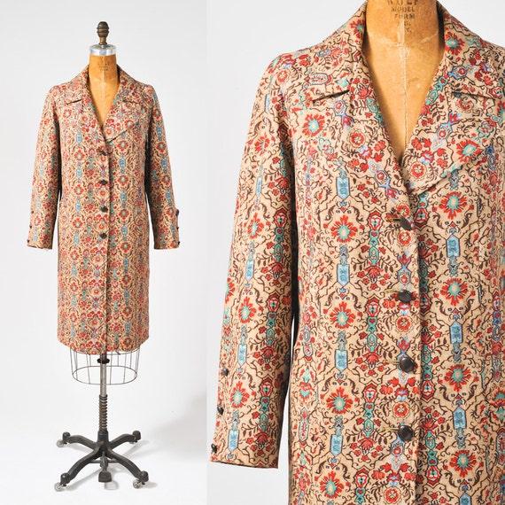 1950s Brocade Cotton Print Coat - Mid Century Lightweight Autumn