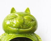 vintage ceramic cat / lime green ceramic cheshire cat air plant holder / candle holder