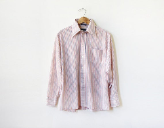 vintage mens button up shirt / 70s primary color striped shirt