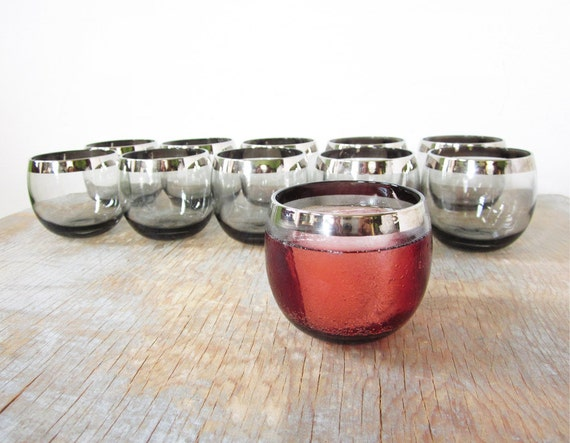 roly poly glasses / smokey silver mad men glasses / 1960s barware