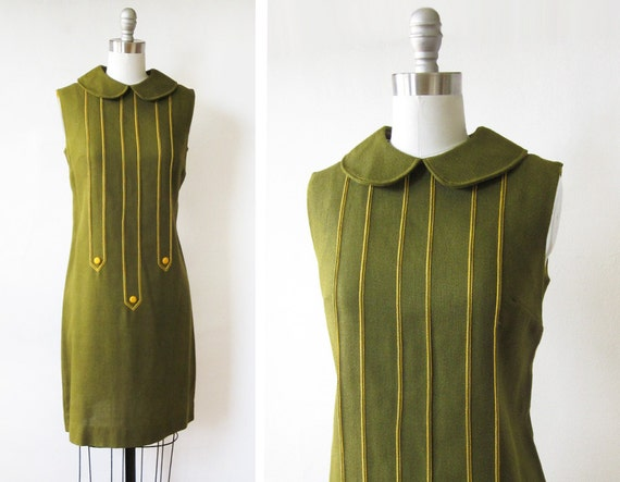 1960s mod dress / vintage 60s olive green mod scooter dress / 1960s shift dress with peter pan collar