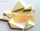 triangle rubber stamp set. geometric hand carved rubber stamps. assorted triangles. diy birthday scrapbooking. block printing. set of 6