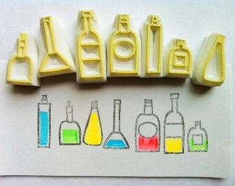bottle rubber stamp set. kitchen hand carved rubber stamp. birthday christmas party gift wrapping. card making. holiday crafts. set of 7