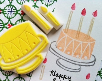 birthday cake hand carved rubber stamps. cake, candle stamps. wedding birthday crafts. scrapbooking. holiday gift wrapping. set of 3
