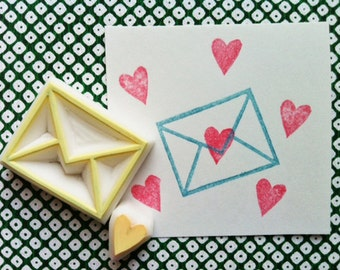 love letter hand carved rubber stamps. envelope and love heart stamp. diy birthday wedding valentine's day. gift wrapping. set of 2