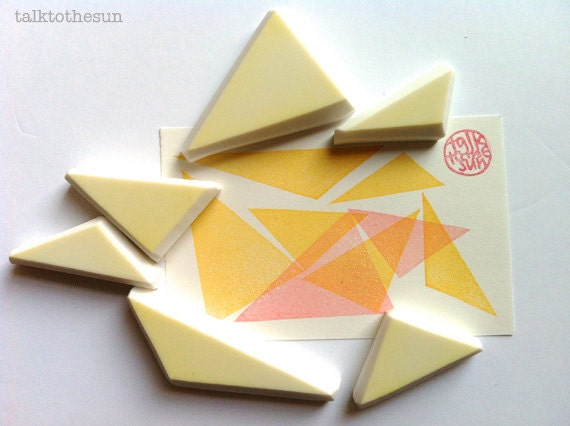 Triangle rubber stamp set geometric hand carved by