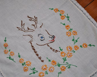 Dear Little Deer Vintage 1960s Cotton Embroidered Runner