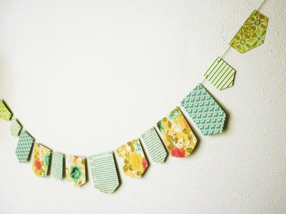 Blue green  paper garland vintage style