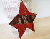 Metal Tin Star Salsa Red Ornament Distressed Striped Silver Rust Rustic Industrial Home Decor Christmas Tree Decorations Xmas Ornament