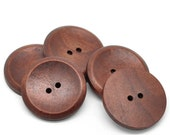 "Big Reddish Brown button - 3 large wooden buttons 40mm (1 5/8"") (BB140)"