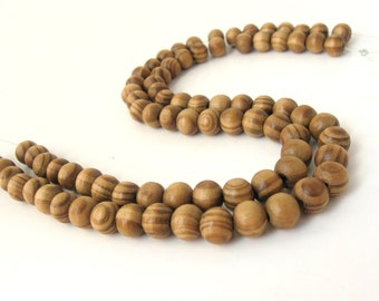 Round wooden beads stripped burlywood 8mm round 40pcs (PB201)