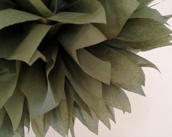 OLIVE GREEN / 1 tissue paper pom / wedding decorations / anniversary party / tissue paper party decorations / pompoms / green theme / diy