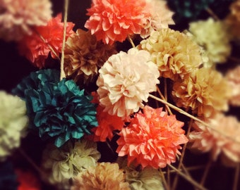 DIY POM FLOWERS / 6 count / wedding decorations / birthday party decor / tissue paper flowers / table decoration / centerpiece / diy