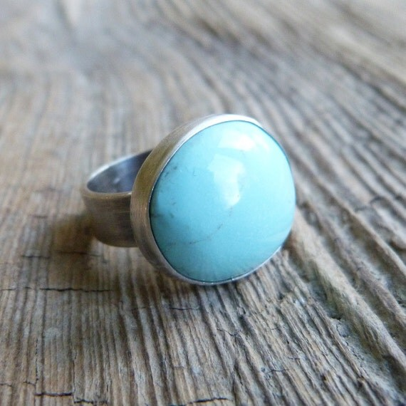 Turquoise Ring in Oxidized Sterling Silver