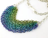 Multi-chain necklace in hand-anodized niobium blue/teal/green ombre spectrum - Voltage Lines