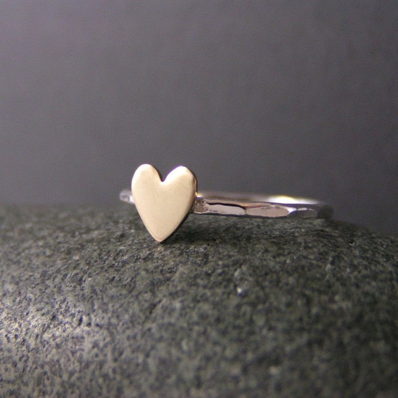 Custom Heart, Sterling Silver And Brass Ring