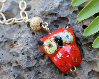 Posh Owl necklace - cute red and gold porcelain owl pendant under a gold moon on 22k gold plated brass textured chain -Free Shipping USA
