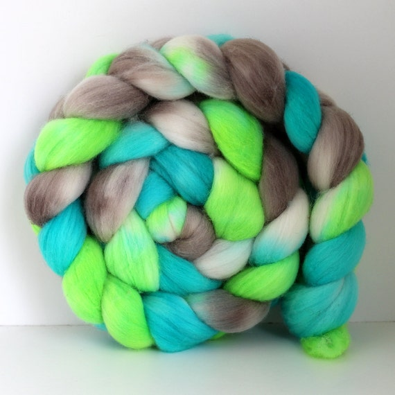 GLOW STICKS - Hand Dyed - Hand Painted Merino Wool Top Roving for Spinning or Felting
