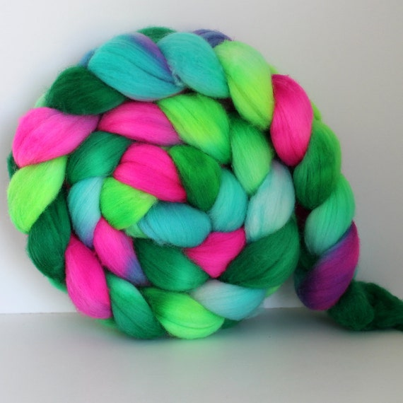 CHARGED -  Merino Wool Top Roving - Handpainted - Hand Dyed 4oz