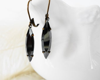FREE SHIPPING Estate Earrings Black Diamond  Navettes Vintage Marcasite Glass German Jewels Retro Old Hollywood Gift