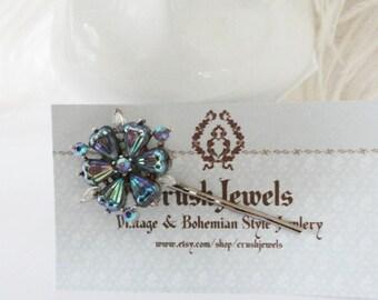 FREE SHIPPING Vintage Crystal Blossom Blue Indigo Glass Hair barrette 1940's silver Bobby Pin Retro Bridal Weddings