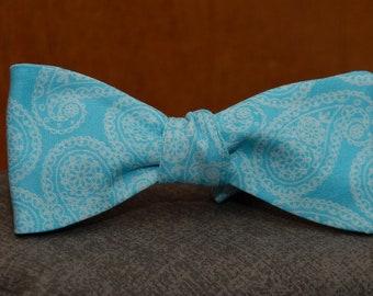 Dragon Paisley on Aqua  Bow Tie