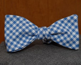 Mini Blue Gingham  Bow Tie